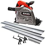 Exce Circular Plunge Track Saw 165mm 240v with 2 Guide Rail Track Clamps & Blade 53mm Cut