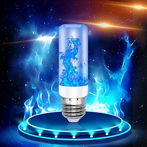 paomo 4 Packungen Flammenlampe 5 W E27 Flammeneffekt Glühbirne mit 4 Beleuchtungsmodi, IP65 wasserdicht, Atmosphäre für Weihnachten, Hotel, Bar, Festival-Dekoration, Blau