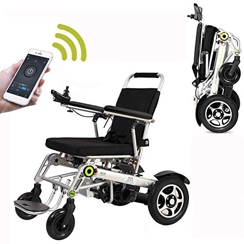 MJY Silla de ruedas eléctrica con plegado automático con aplicación, conducción con energía eléctrica o uso como Wheelchai manual fgj