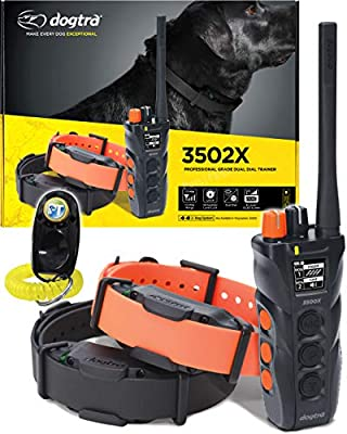 Dogtra 3502X 2-Dogs Remote Training Dual Dial - 1.5 Mile Long Range, Sports Upland Hunting, Waterproof Receiver Collar, Rechargeable, Static, Tone, Vibration Pager - Includes PetsTEK Trainer Clicker