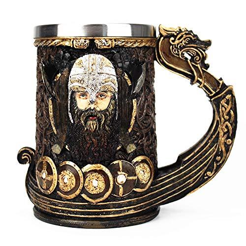 SUPERHUA Taza vikinga Drakkar, Inserto de Acero Inoxidable con Calavera de Resina, Tazas de Jarra de Danegeld Vikingo, Dios nórdico Odin Drakkar, Jarra vikinga de 600 ml