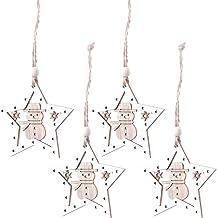 4 Pcs Wooden Hollow Decorative Pendant Baubles Christmas Tree Decoration Xmas Ornament Hanging Decor