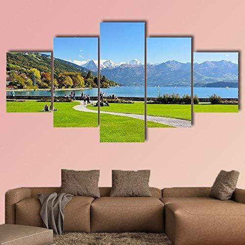 Cuadro en Lienzo, Lona Arte de Pared, 5 Piezas, Lago thun con la montaña Jungfrau,Comedor Baño Oficina Decoración para Dormitorio