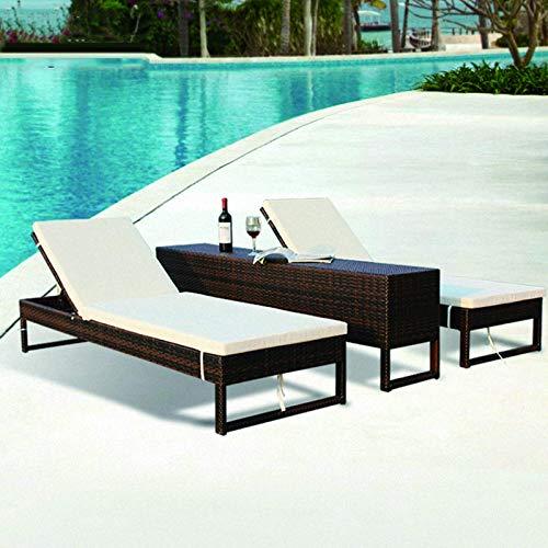 N/Z Equipamiento Diario Chaise Lounge Sillón de ratán para Exterior Sillón de Playa Patio Piscina SPA Elevador Cama de Ocio Reclinable Balcón Sofá de Ocio con Mesa de Centro