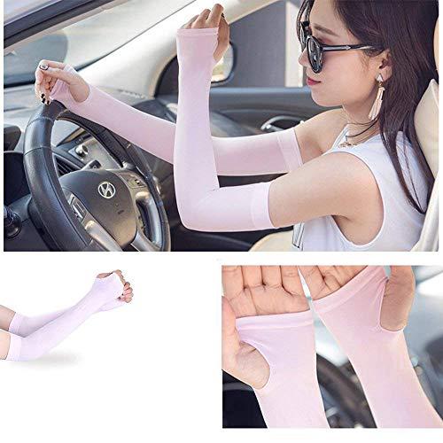 Goodplan Sport-Armstulpen UV-Schutz Radfahren Armschutz Ice Silk Sleeves für Radfahren Wandern Golf Basketball (Weiß) - 4