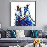 ganlanshu Pintura sin Marco Acuarela Animal Imagen Carteles e Impresiones Mural Lienzo decoración del hogar Sala de estarCGQ8666 30X30cm