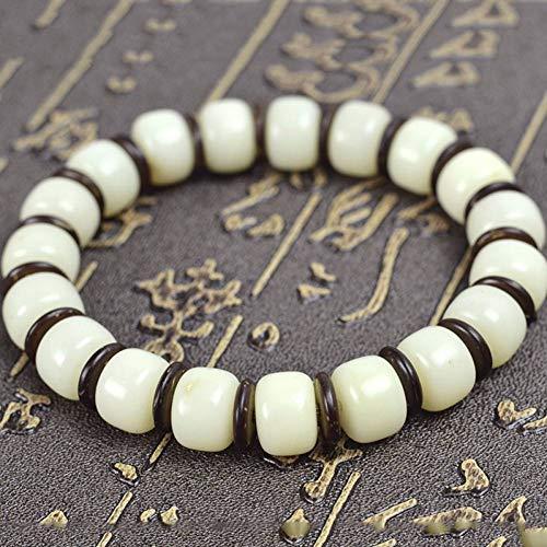 MLJSX Pulsera Pulsera de Cuentas de oración étnicas Bodhi Root Buddha Beads Pulseras para Hombres Mujeres joyería de Coco