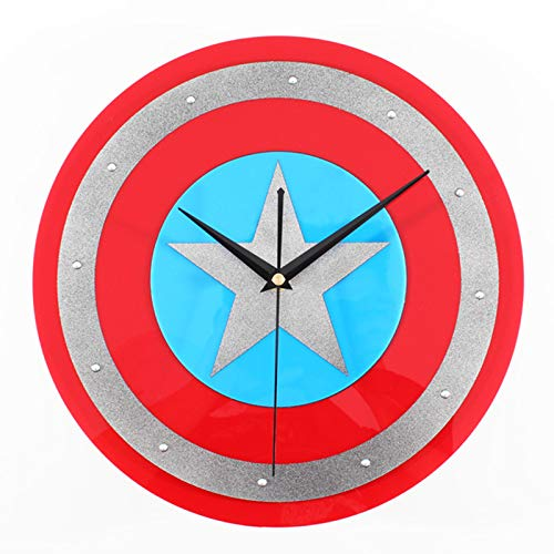 gongyu Reloj de Pared Reloj de Pared con Escudo Digital Reloj de decoración del hogar Reloj de Arte Creativo Diseño Moderno Regalo de Ventilador de héroe de 12'Adecuado para Oficina de Estudio