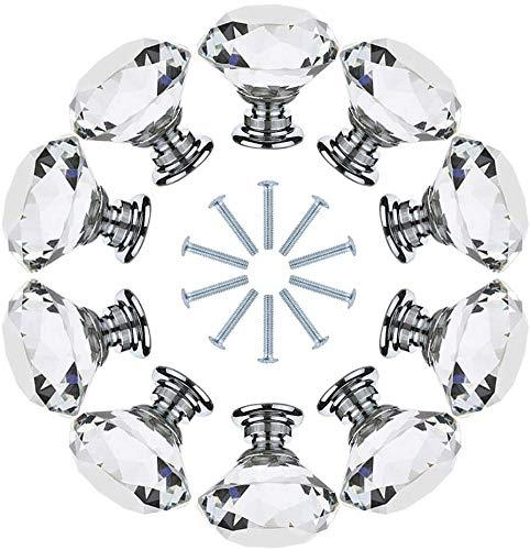 Auped Set di 10 Pezzi Pompelli Manopole di Cristallo 30MM con Vite Manopole a Forma Diamanti Trasparente Set Maniglia per Porte Armadietti Cassetti e Guardaroba Accessori Mobili.