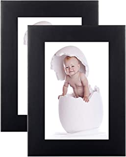 [2 Pack] 3.5X5 Black Picture Frames Made of Solid Wood and High Definition Glass for Wall Decor or Table Stand Top Black Picture Frame Display 3.5 by 5 Frame Vertically or Horizontally as 5x3.5 inch