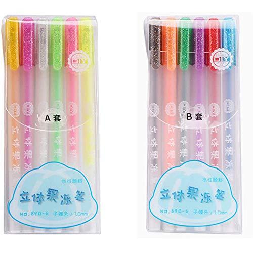 12er Pack Beliebte Stereo 3D Jelly Pen Set 1,0 mm, niedliche Farbstifte Diy fluoreszierende Graffiti Glasmalstift Gel Pen, ungiftig, funkelnd sortiert Candy Color Gel Pen
