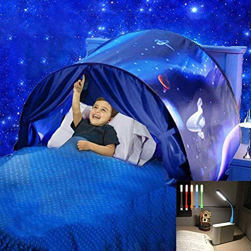Nifogo Traumzelt Bettzelt Tent Traumzelt Kinderbett Drinnen Kinder Zelt Geschenke für Kinder (Sternenklarer Himmel)
