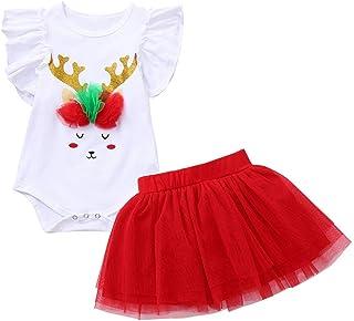 Conjunto Bebe niña Invierno Ropa Bebe niña Invierno Pijama Bebe Navidad Regalo Bebé Cuerno de Navidad sin Mangas con Encaje Estampado + Conjunto de tutú de Malla 2PCs 6M-24M