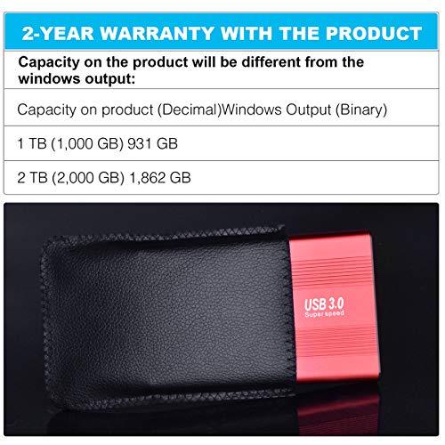 """HAHHY Disco Duro Externo Portátil 2.5"""" USB3.0 SATA HDD Almacenamiento para PC, Mac, Xbox (2tb, Negro) miniatura"""