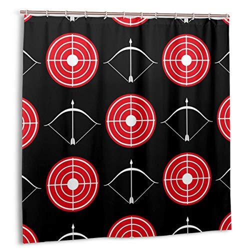Cortina de baño para decoración de baño Juego de Cortinas,Tiro con Arco Patrón sin Costuras Textura Tela roja Cortinas de baño con Ganchos 72x72in