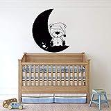 Calcomanías de vinilo para pared habitación de niños pegatinas de pared de animales habitación de oso luna decoración del hogar jardín de infantes decoración de dormitorio habitación de bebé