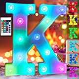 Colorful Changing LED Letter Lights Alphabet Signs, Battery Operated Marquee Letters Lamp Night Light Timer Dimmable Wedding, Wall, Home, Birthday Decorations for Women- RGB Letter K
