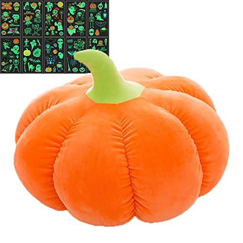 Almohada de calabaza, almohada de calabaza de Halloween, juego de peluche, con pegatinas para niños y niñas (25 cm)