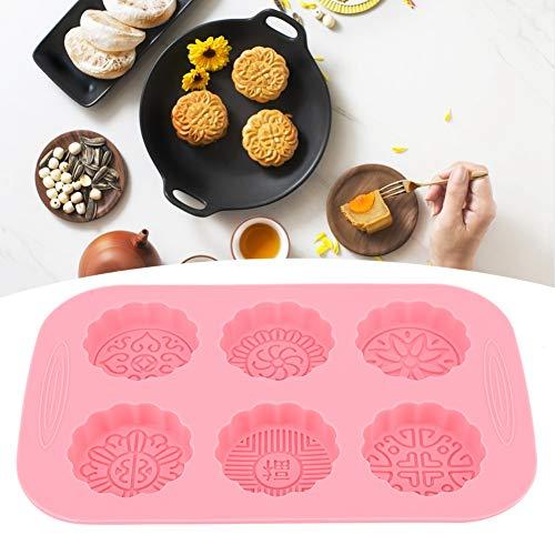 Material de silicona de grado alimenticio no tóxico Mooncake que hace el molde sin olor hermoso patrón 6 ranuras para el helado de jabón