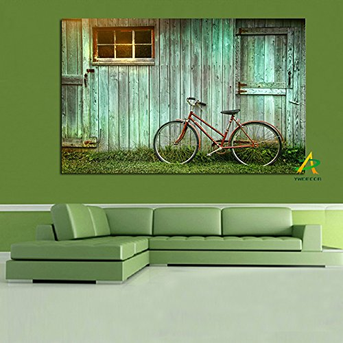 Flduod Bicicleta en la Vieja cabaña Moderna Lienzo Pintura HD impresión en Lienzo fotografía Fondo Imagen Arte Sala de Estar