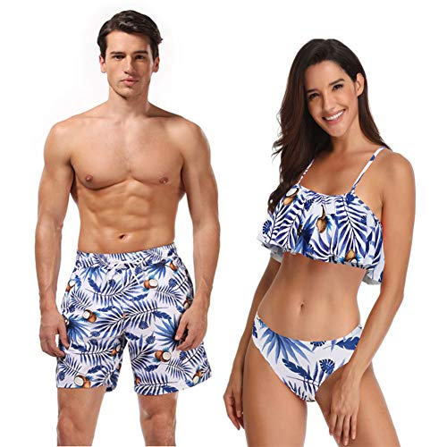 Ulikeey Blue Coconut and Leaves Matching Swimsuit for Couples Men and Women Beach Bathing Suits