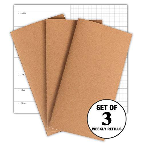 Reise-Notizbuchbeilagen 3er-Pack Nachfüllpackungen für Wochenplaner, 30 Wochen pro Buch, 100g Papier ohne Beschnitt, Standardformat 21 x 11cm