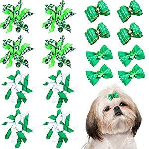 Weewooday 16 Pieces St. Patrick's Day Dog Hair Bows Dog Curve Bows Mixed Styles Pet Cat Puppy Green Clover Hair Bows with Rubber Bands Grooming Accessories