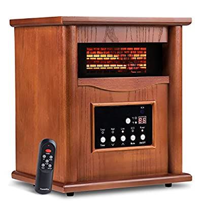 Electric Infrared Quartz Heater Deluxe Wood Cabinet with LED Digital Screen, Remote Control and Timer, Tip-Over & Overheat Protection, Quiet and Portable Space Cabinet Heater