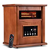 Electric Infrared Quartz Heater Deluxe Wood Cabinet with LED Digital Screen, Remote Control and Timer, Tip-Over & Overheat Protection, Quiet Space Heater for Indoor Use