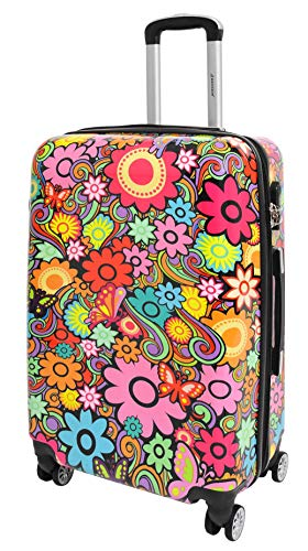 Four Wheels Hard Shell Suitcase Flowers Printed Travel Luggage Floral Design (Large)