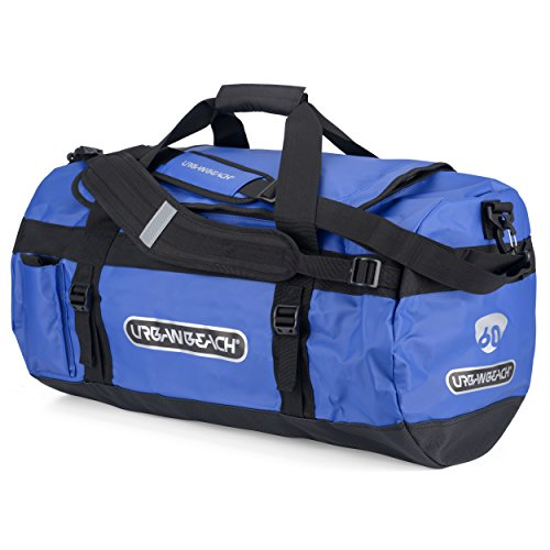 Urban Beach Adult Outdoor Travel Duffel Bag with Shoulder Strap and ID Pocket, Weatherproof, Blue, 90 Litre