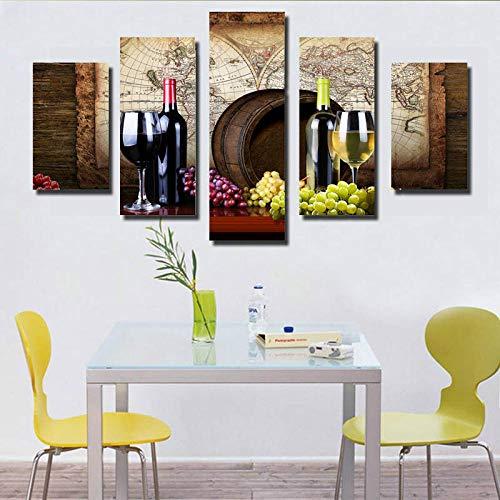 Rkmaster-Wijn- en wijnglas muurkunst canvas schilderij Scandinavische muur woonkamer decoratief schilderij met frame kunstdruk