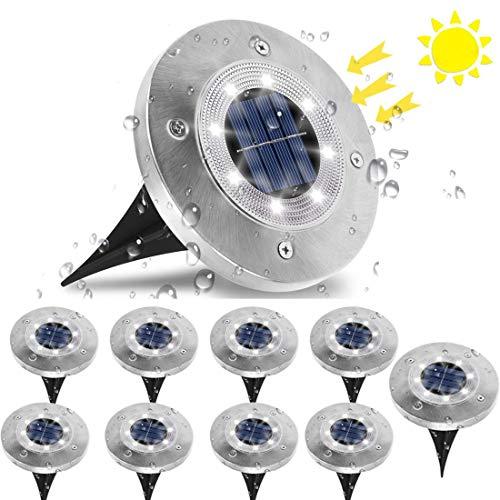 Luci Solari per Giardino, Jnnien Lampade Led Giardino 8 LED Luci Led Solari da Esterno IP65 Impermeabile Luci Bianco Freddo Decorazione per Esterno,Paesaggio,Prato,Piscina ,Cortile - 10 Pezzi