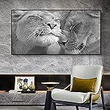 Arte de pared de animales León y Leona fondo blanco y negro póster lienzo pintura moderna sala de estar decoración del hogar 60x120 CM (sin marco)