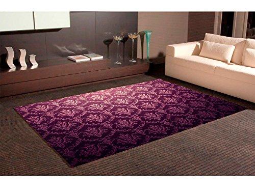 Alfombra Damasco Púrpura Oscuro con Estampado Floral Dorado Multicolor PVC   95 cm x 165 cm  Moqueta PVC   Suelo vinilico   Decoración del Hogar