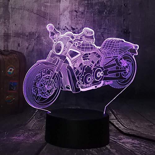 Ilusión óptica 3D Luz nocturna Motocicleta Moto 7 colores Interruptor USB Power Table Niños Juguetes Decoración Decoraciones Navidad San Valentín Regalo Regalo de cumpleaños