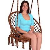 EBUNG Macramé Hammock Chair Hanging Swing Seat – Elegant and Classy Knotted Design – 100% Cotton – Durable and Strong – Ideal for Both Indoors and Outdoors – Be it Living Room, Study, Patio or Garden