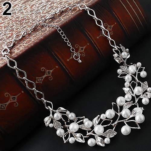 YSoutstripdu Gargantilla para Mujer, Perlas de imitación incrustadas en Forma de Hoja...