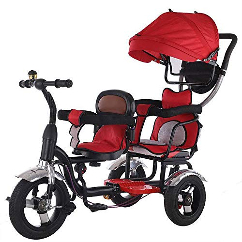 FLYFO Triciclos para Niños para Dos, Carros De Dos Plazas, Bicicletas, Bicicletas para Niños Que Montan Al Aire Libre Triciclos De 2 A 6 Años,Rojo