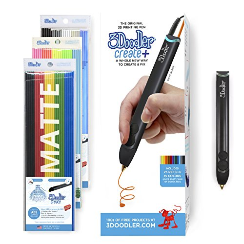 3Doodler Create+ 3D Printing Pen for Teens, Adults & Creators! - Onyx Black (2019 Model, UK-Plug) - with Free Refill Filament + Stencil Book + Getting started Guide