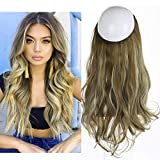 SARLA Synthetic Wavy Halo Hair Extension Long Brown Blonde Balayage Natural Hairpieces No Clip No Glue No Tape 4.3oz 18' M01&M6PH613