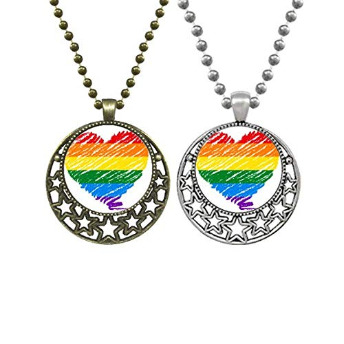 Rainbow Gay Lesbian Heart LGBT Lovers Necklaces Pendant Retro Moon Stars Jewelry