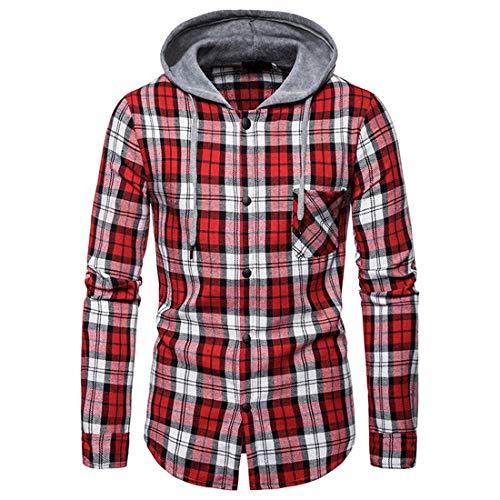 NLZQ Herren Langarm Kariertes Herbst Winter Button Hoodie Sweatshirt Warm Bequem...