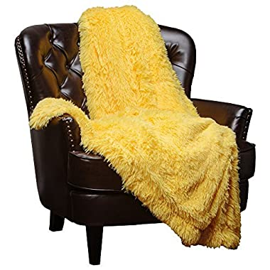 Chanasya Super Soft Shaggy Chick Longfur Throw Blanket - Snuggly Fuzzy Faux Fur Lightweight Warm Elegant Cozy Sherpa - For Couch Bed Chair Sofa Daybed - 50 x 65  - (Machine Washable) - Yellow