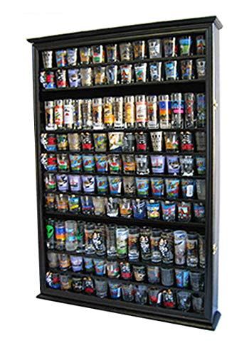 Large 144 Shot Glass Display Case Holder Cabinet Shadow Box, Hinged Door, Solid Wood, Black Finish