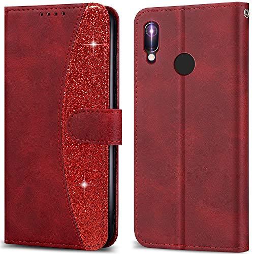 LEBE Handyhülle für Huawei Y6 2019 Hülle Leder, Flip Etui Handytasche Schutzhülle [Kartenfach] [Magnetverschluss] für Huawei Y6 2019 -Rot