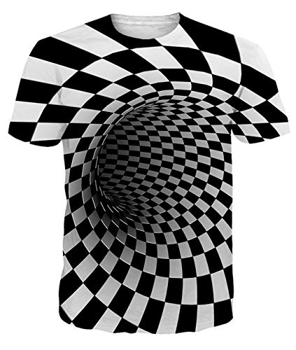 uideazone Camiseta de manga corta para hombre con estampado 3D, manga corta, deportiva, cuello redondo, informal, talla XXL, negro (Schwarz)