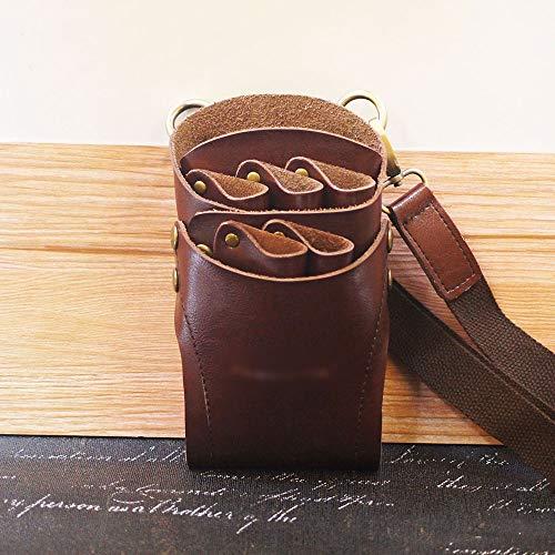 SHAOXI Hairstylist Hair Comb Pocket for Hair Styling Rétro en Cuir Scissor Holster Pochette Cisailles et Ciseaux (Color : Black)