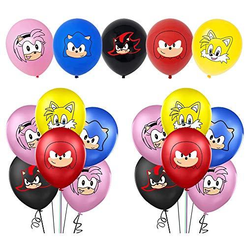 Globos de látex - SUNSK Globos Sonic Decoración para Fiestas de Cumpleaños Dibujos Animados Hedgehog Globos 35 Piezas