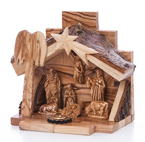 Zuluf Small Hand Carved Nativity Set Scene with Bark Roof Made in Bethlehem NAT022 Certificate Holy Land